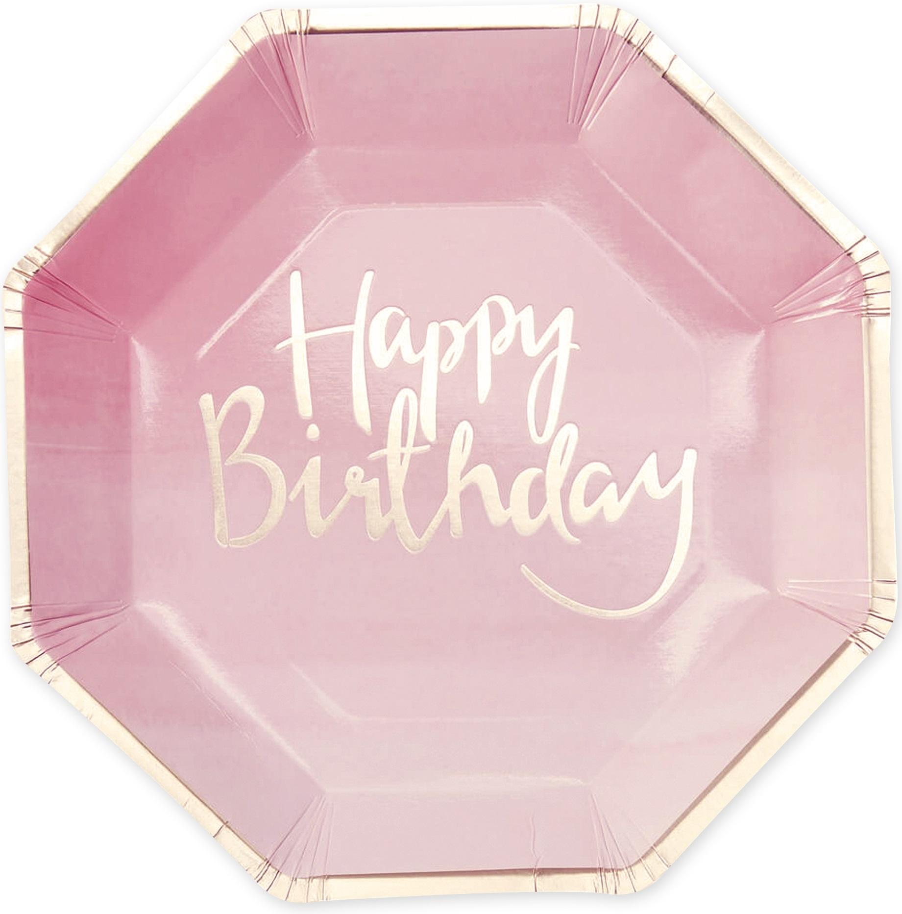 assiettes en carton happy birthday rose et or. Black Bedroom Furniture Sets. Home Design Ideas