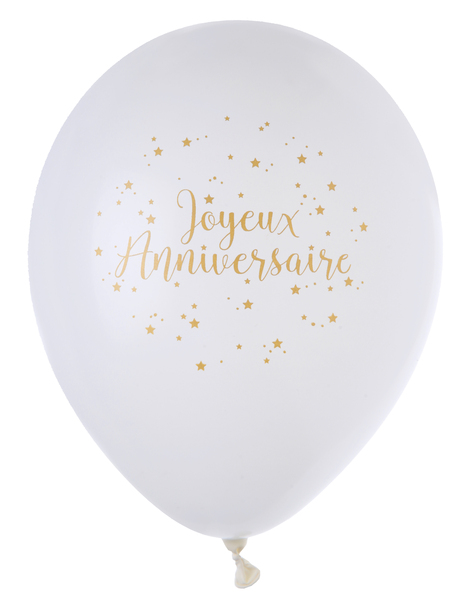 Ballons De Baudruche Joyeux Anniversaire Or X8
