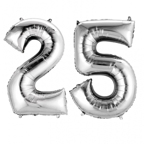 ballons mylar argent anniversaire chiffre 25 ans holly party. Black Bedroom Furniture Sets. Home Design Ideas