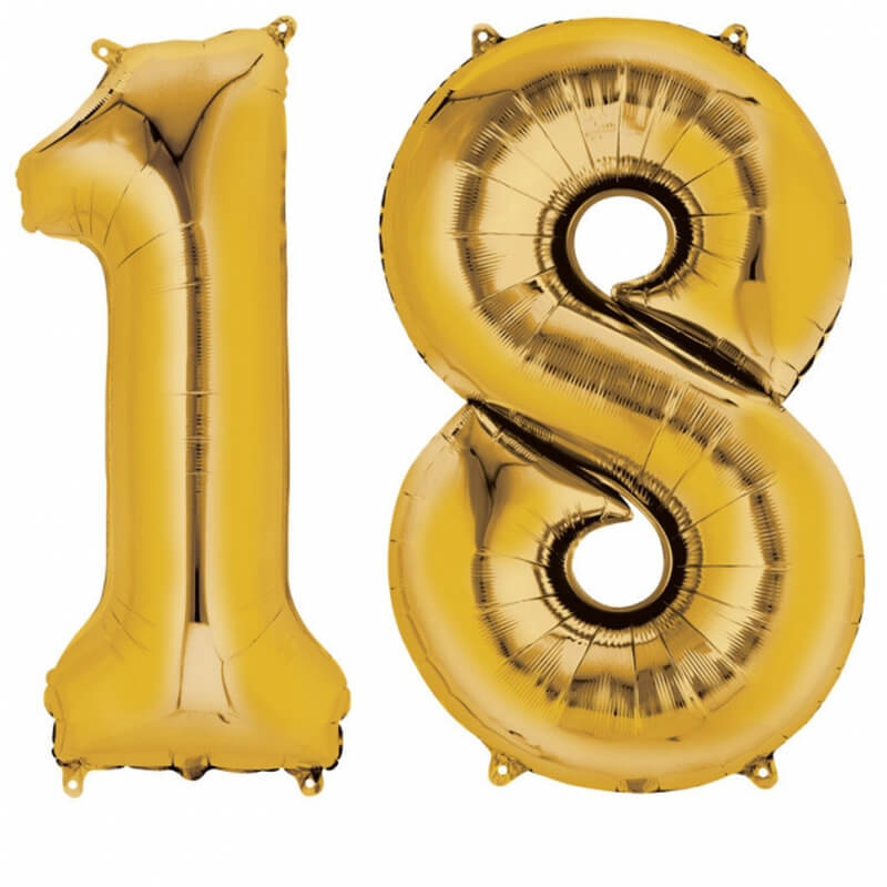 Ballons mylar or anniversaire chiffre 18 ans (x2)