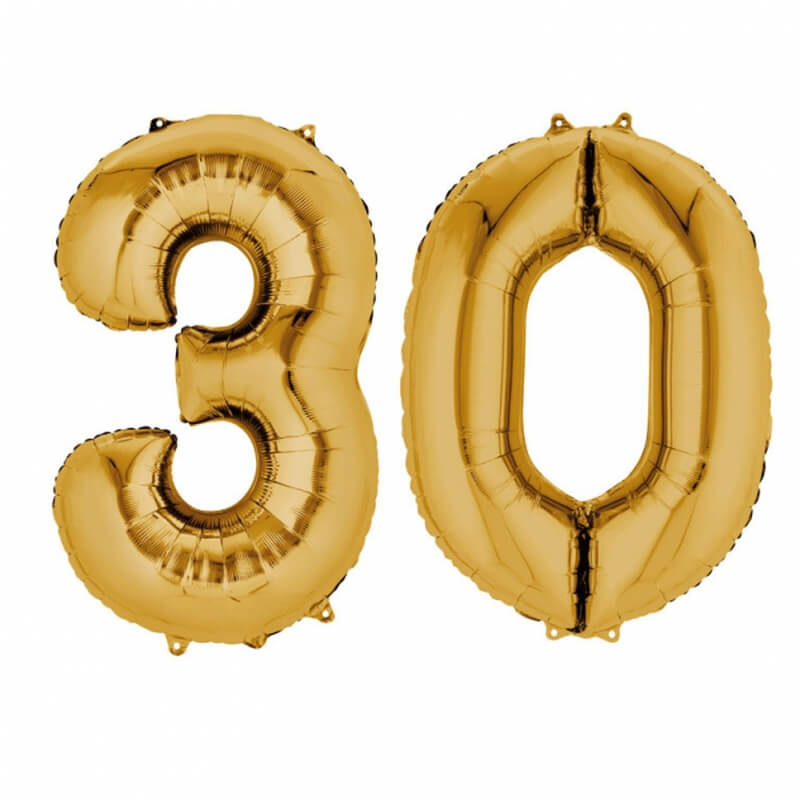 ballons mylar or anniversaire chiffre 30 ans holly party. Black Bedroom Furniture Sets. Home Design Ideas
