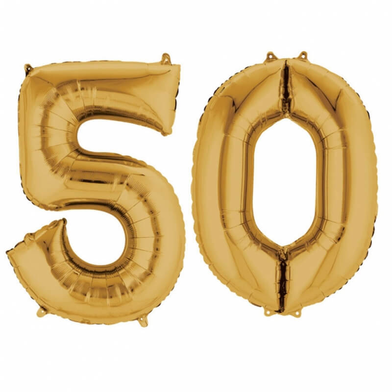 Ballons mylar or anniversaire chiffre 50 ans | Holly Party