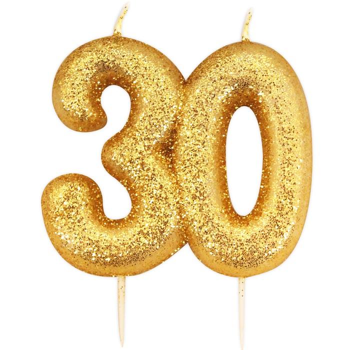 Bougie Anniversaire bougie anniversaire or pailleté 30 ans | holly party