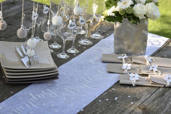 Chemin De Table Bapteme Blanc Hollyparty Com