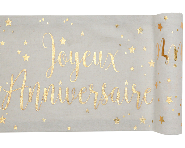 Chemin De Table Joyeux Anniversaire Or Hollyparty Com