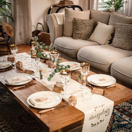 chemin de table lin bapt me champagne. Black Bedroom Furniture Sets. Home Design Ideas