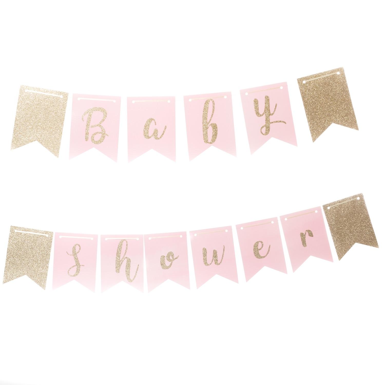 Guirlande baby shower rose pastel - Guirlande baby shower ...