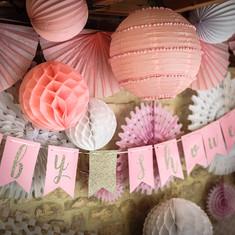 guirlande baby shower rose pastel. Black Bedroom Furniture Sets. Home Design Ideas