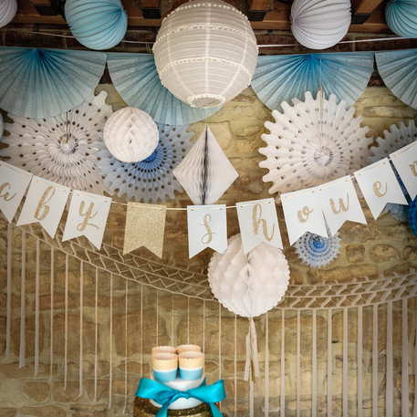 Guirlande fanion baby shower bleu ciel - Guirlande baby shower ...