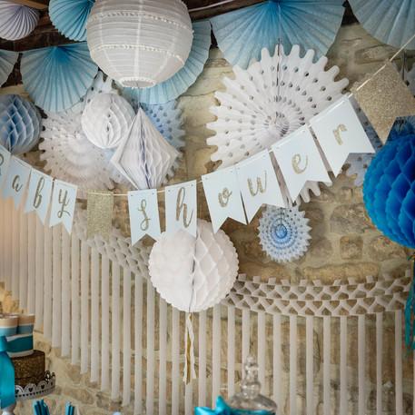 guirlande fanion baby shower bleu ciel. Black Bedroom Furniture Sets. Home Design Ideas