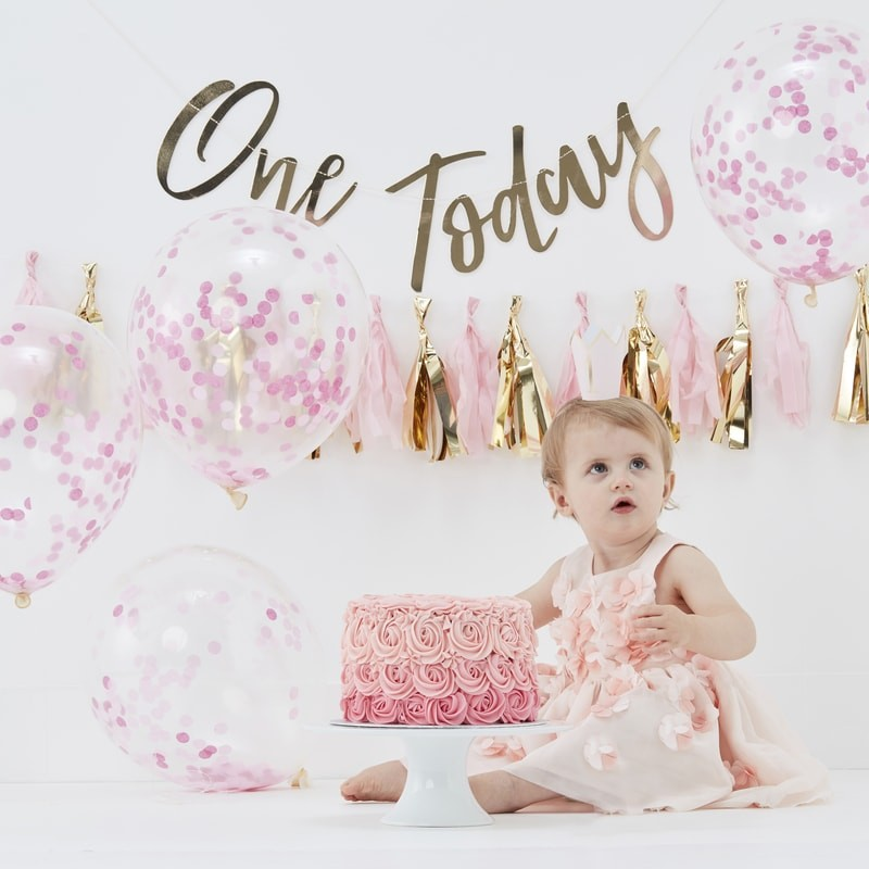 Image Anniversaire 1 An kit anniversaire 1 an fille rose & doré | hollyparty