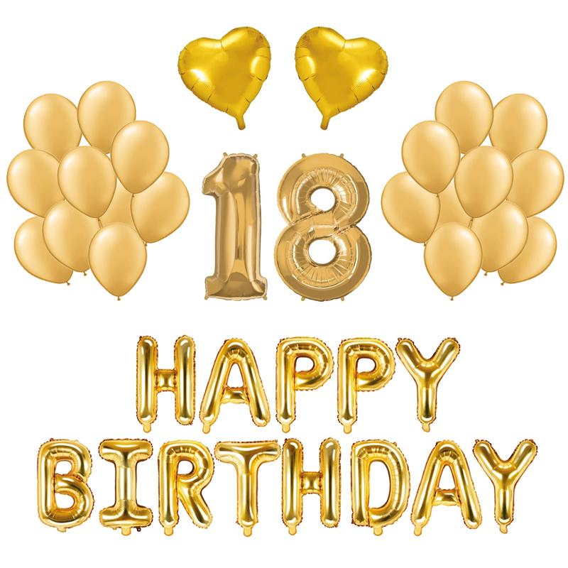 Kit Ballons Anniversaire 18 Ans Or X21