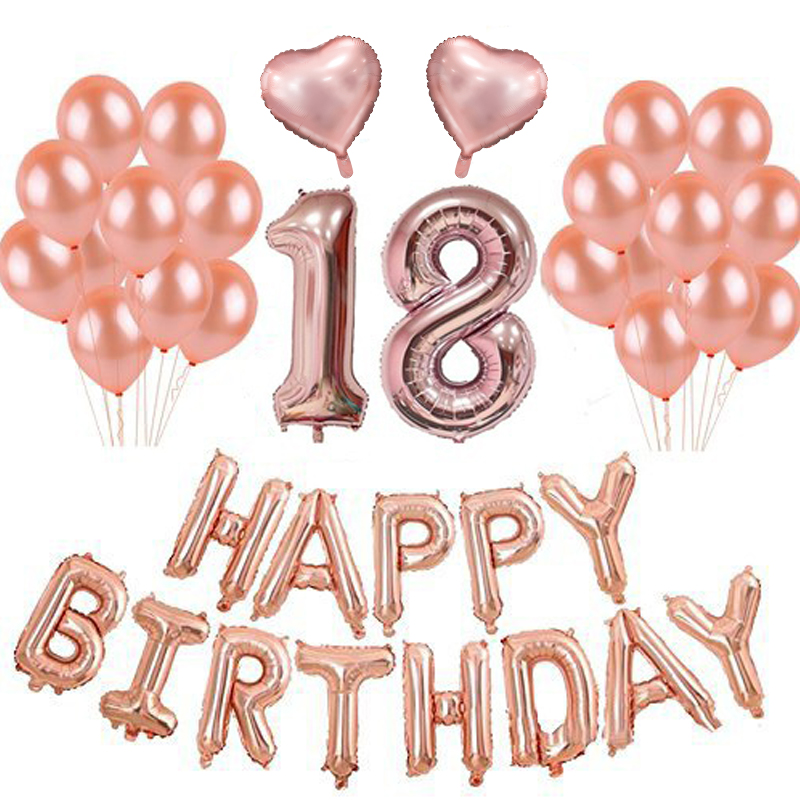 Kit Anniversaire 18 Ans Ballons Rose Gold Hollyparty Com