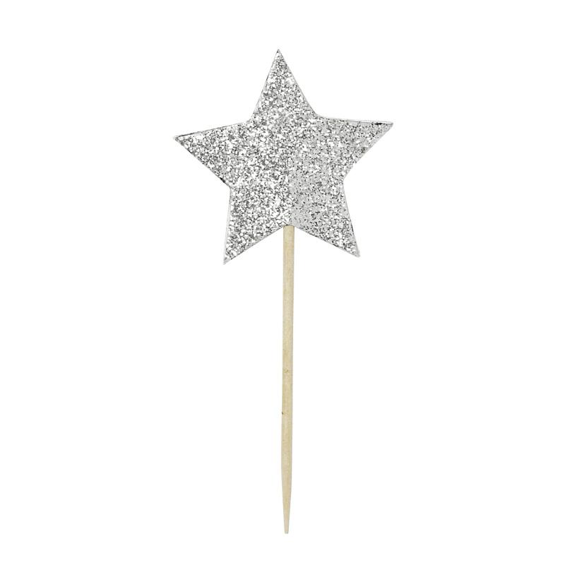 Pics à Cupcake étoile Argentée X6 Hollypartycom