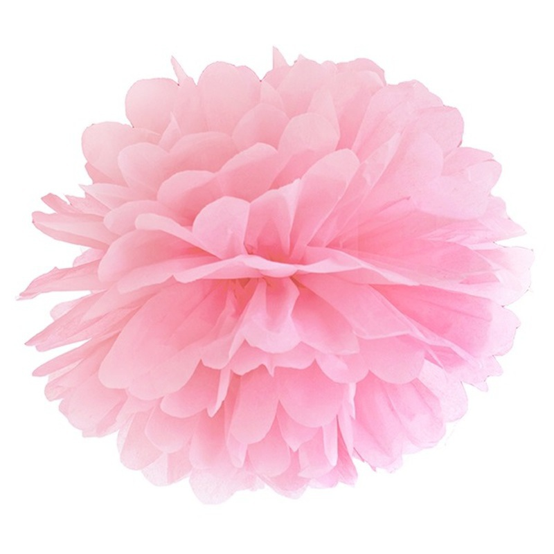 pompon papier de soie suspendre rose clair. Black Bedroom Furniture Sets. Home Design Ideas