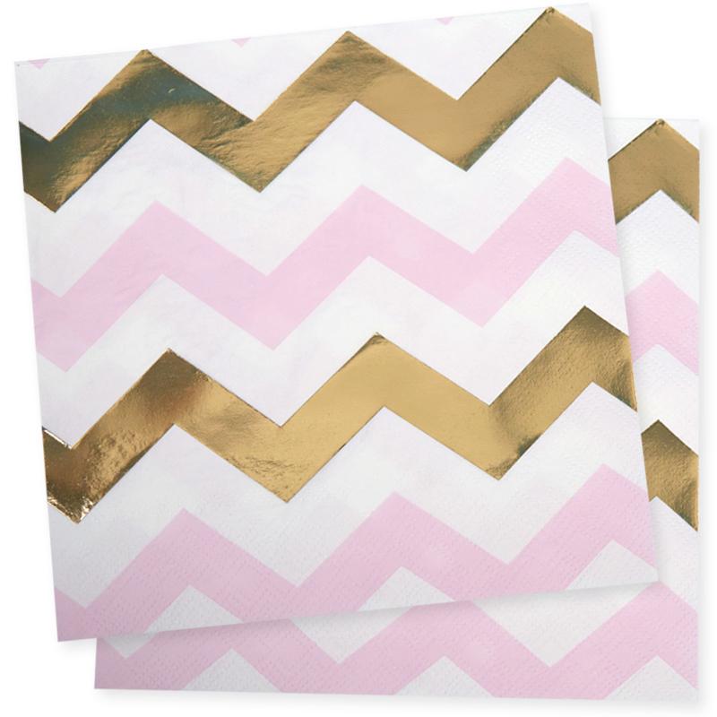 serviettes en papier chevron rose or. Black Bedroom Furniture Sets. Home Design Ideas