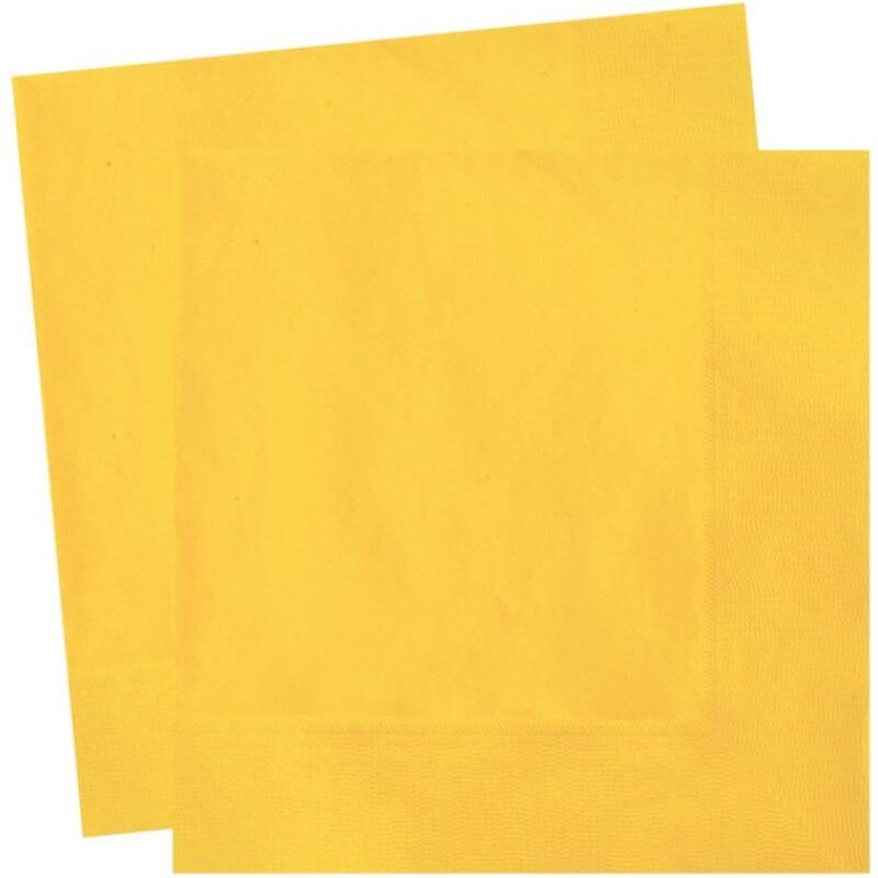 serviettes en papier jaune uni x20. Black Bedroom Furniture Sets. Home Design Ideas