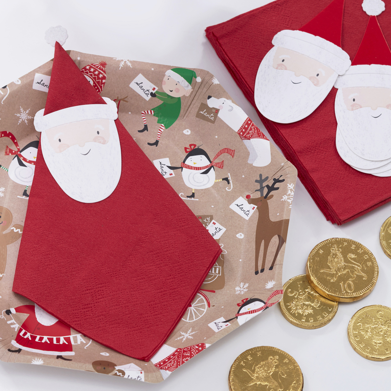 Serviettes en papier p re no l holly party - Serviette en papier noel ...