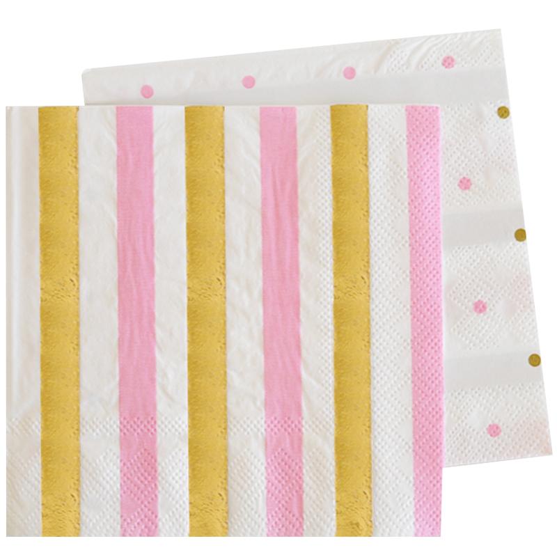 serviettes en papier rose or. Black Bedroom Furniture Sets. Home Design Ideas