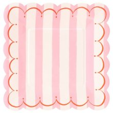Assiettes en carton Rayure Rose Meri Meri (x6)