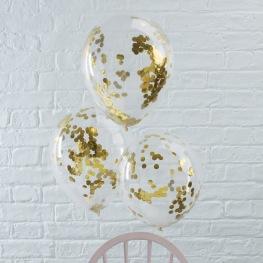 6 Ballons de baudruche Confettis Or