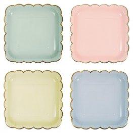 8 assiettes en carton 4 Couleurs Pastel