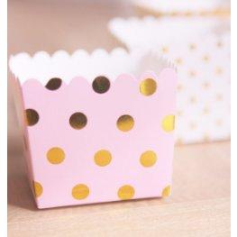 Boîtes à bonbon Rose à Pois Or Métallisé (x6)
