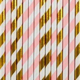 Pailles de fête en papier Rayure Rose & Or (x20)
